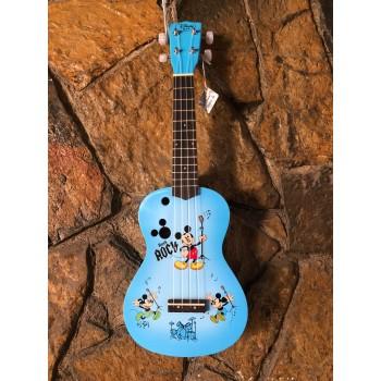 Disnep Mickey Mouse Concert Mavi Renk Ukulele Set (Kılıf + Pena)