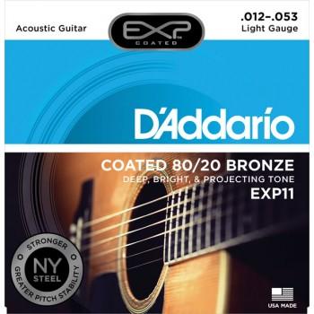 DADDARIO EXP11 AKUSTİK GİTAR TEL SETİ, EXP COATED, 80/20 BRONZE