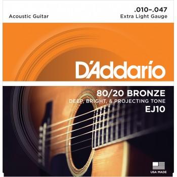 DADDARIO EJ10 AKUSTİK GİTAR TEL SETİ, 80/20 BRONZE, EXTRA LIGHT G